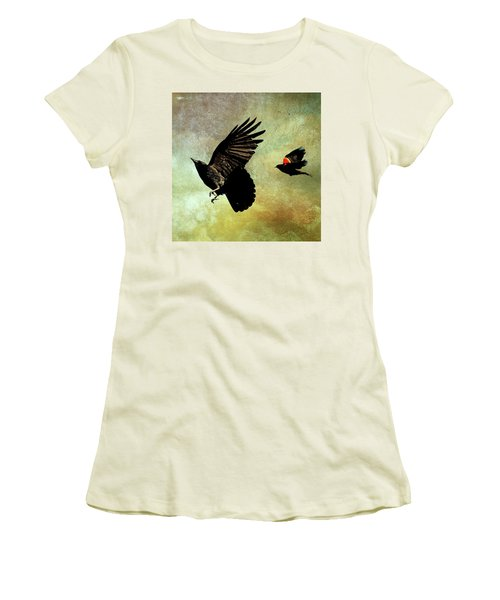 The Crow And The Blackbird Women's T-Shirt (Junior Cut) by Peggy Collins
