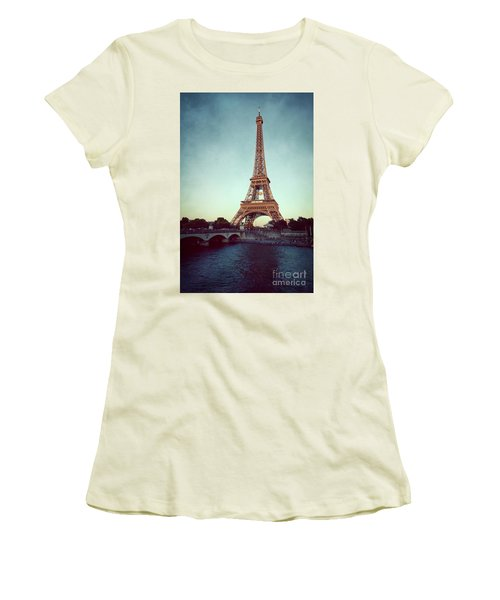 Women's T-Shirt (Junior Cut) featuring the photograph The Eifeltower by Hannes Cmarits