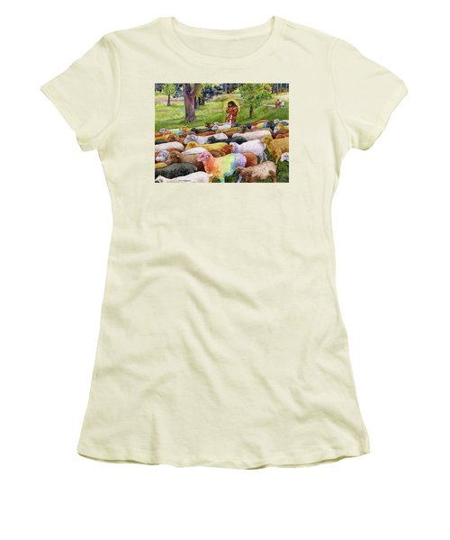 Women's T-Shirt (Junior Cut) featuring the painting The Good Shepherd by Anne Gifford