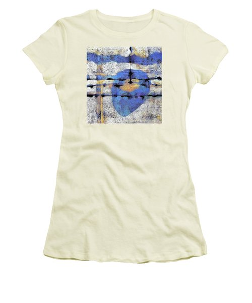 Women's T-Shirt (Junior Cut) featuring the painting The Heart Of The Matter by Maria Huntley