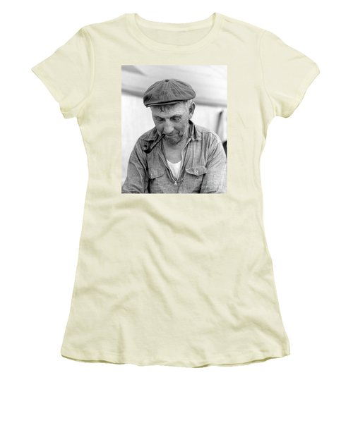 Women's T-Shirt (Junior Cut) featuring the photograph The Pipe Smoker by John Stephens