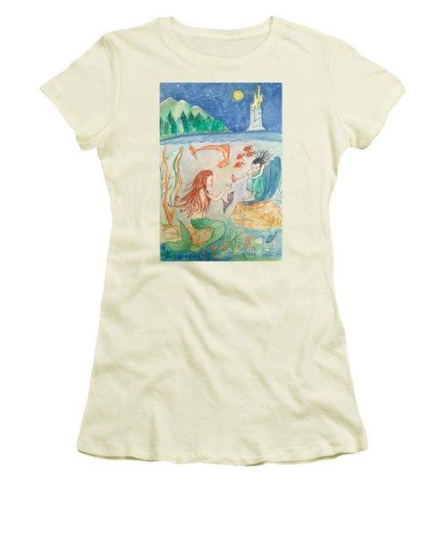 The Little Mermaid Women's T-Shirt (Junior Cut) by Veronica Rickard