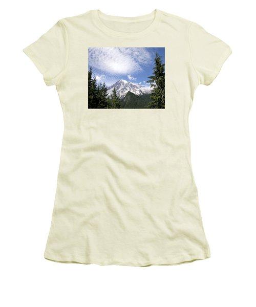 The Mountain  Mt Rainier  Washington Women's T-Shirt (Junior Cut) by Michael Bessler