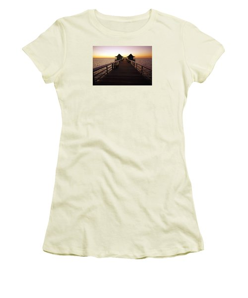 The Naples Pier At Twilight - 01 Women's T-Shirt (Junior Cut) by Robb Stan