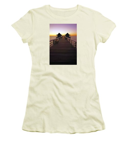 The Naples Pier At Twilight Women's T-Shirt (Junior Cut) by Robb Stan