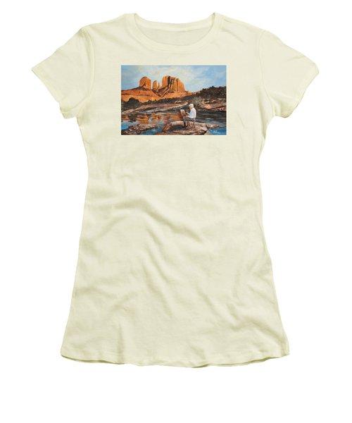 The Painter Woods Women's T-Shirt (Junior Cut) by Alan Lakin