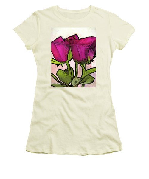 The Roses With The Green Stems And Leaves Women's T-Shirt (Athletic Fit)