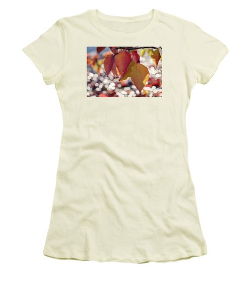 Women's T-Shirt (Athletic Fit) featuring the photograph The Season Of The Fall Begins by Linda Lees