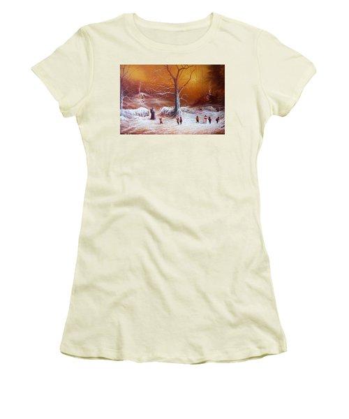 The Shire First Snowfall Women's T-Shirt (Junior Cut) by Joe Gilronan