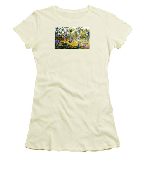 The Teak Garden Women's T-Shirt (Junior Cut) by Jason Sentuf
