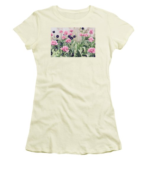 The Tulip Garden Women's T-Shirt (Junior Cut) by Jeannie Rhode