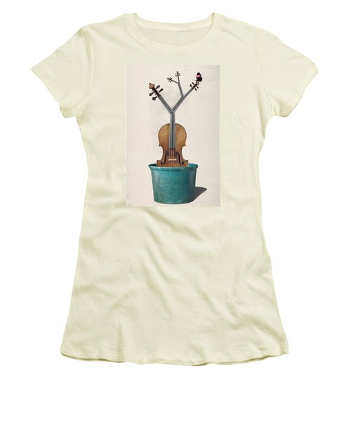 The Voilin Plant Women's T-Shirt (Junior Cut) by Keshava Shukla