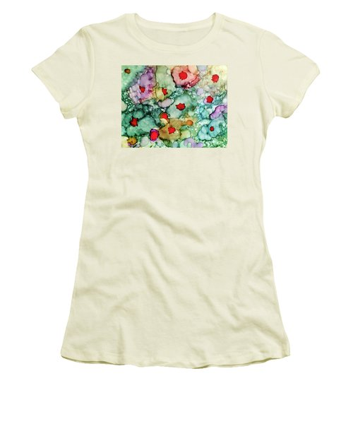 Women's T-Shirt (Athletic Fit) featuring the painting Think Spring by Denise Tomasura