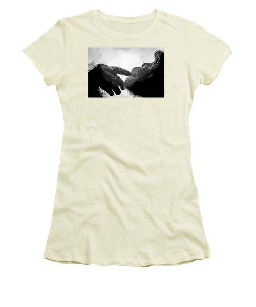 Thoughtful Chimpanzee Women's T-Shirt (Junior Cut) by Marius Sipa