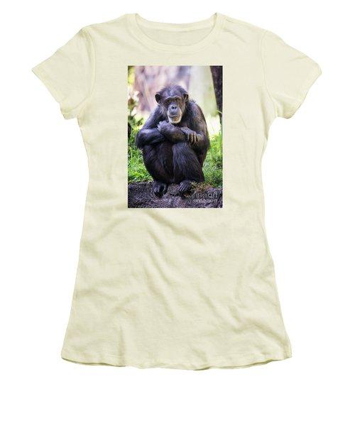Thoughtful Chimpanzee  Women's T-Shirt (Junior Cut) by Stephanie Hayes