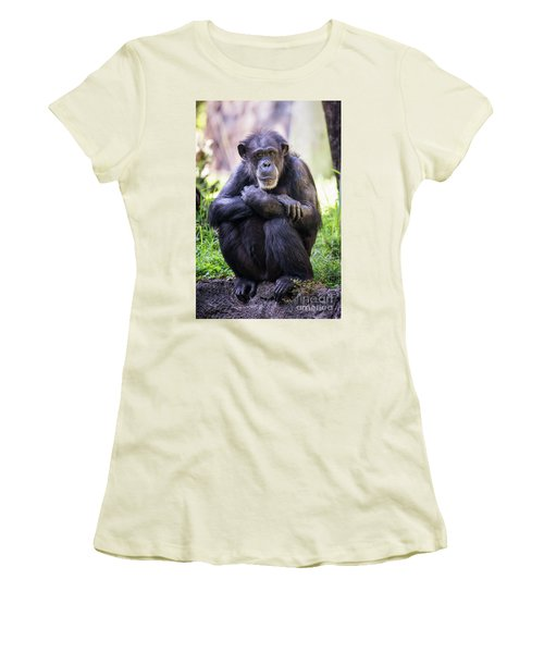 Thoughtful Chimpanzee  Women's T-Shirt (Athletic Fit)