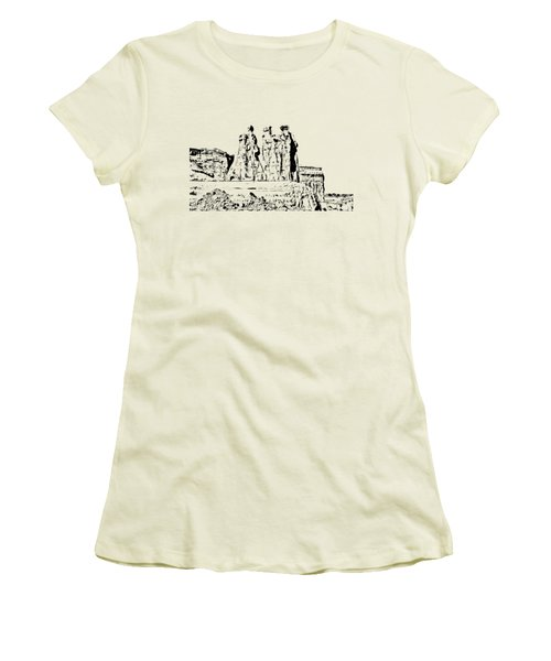 Three Gossips Drawing Women's T-Shirt (Athletic Fit)