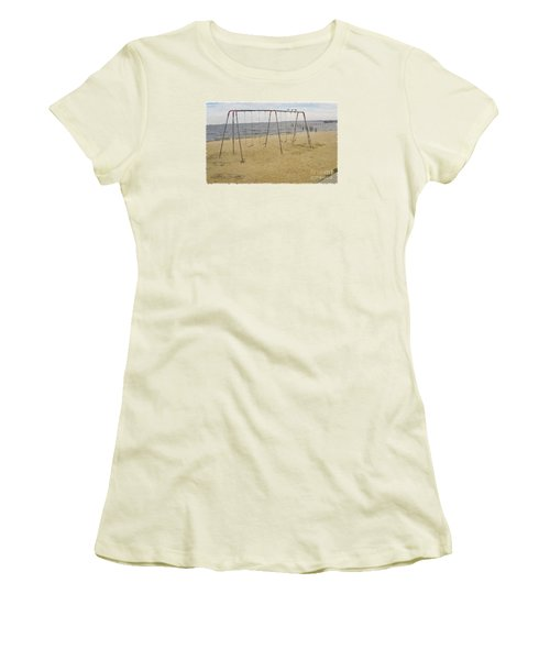 Women's T-Shirt (Junior Cut) featuring the photograph Three Gulls And A Swing Set by Melissa Messick