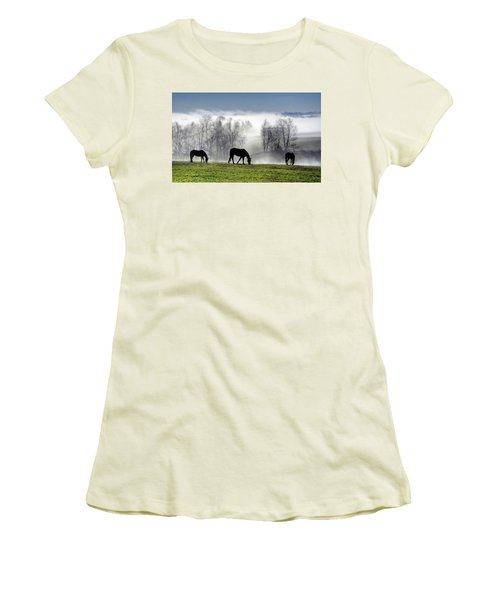 Three Horse Morning Women's T-Shirt (Athletic Fit)