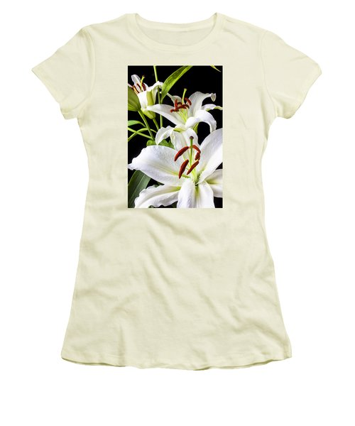 Three White Lilies Women's T-Shirt (Junior Cut) by Garry Gay