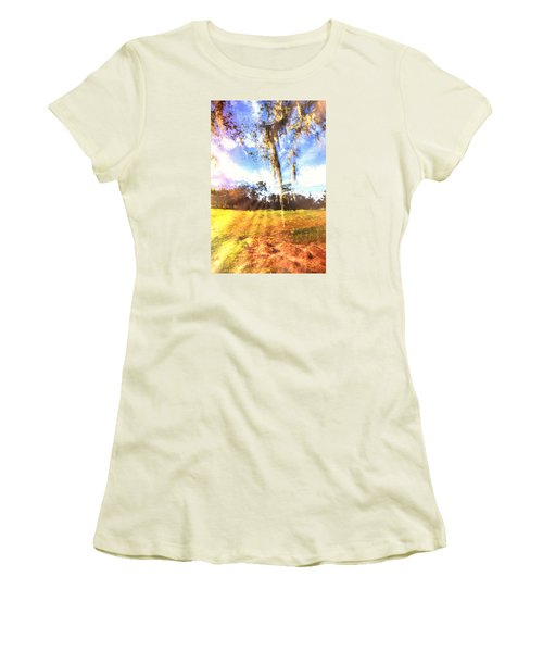 Women's T-Shirt (Junior Cut) featuring the painting Through The Moss by Annette Berglund