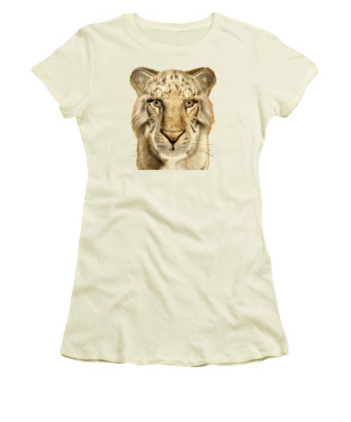 Women's T-Shirt (Junior Cut) featuring the painting Tigers by Methune Hively
