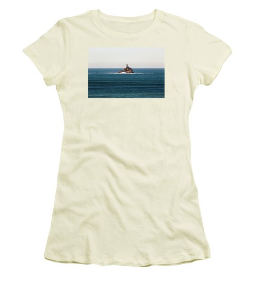 Tillamook Rock Lighthouse On A Calm Day Women's T-Shirt (Athletic Fit)