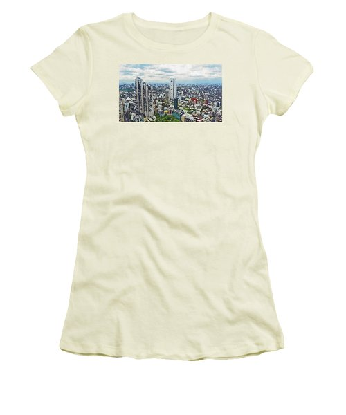 Women's T-Shirt (Athletic Fit) featuring the painting Tokyo City View by PixBreak Art