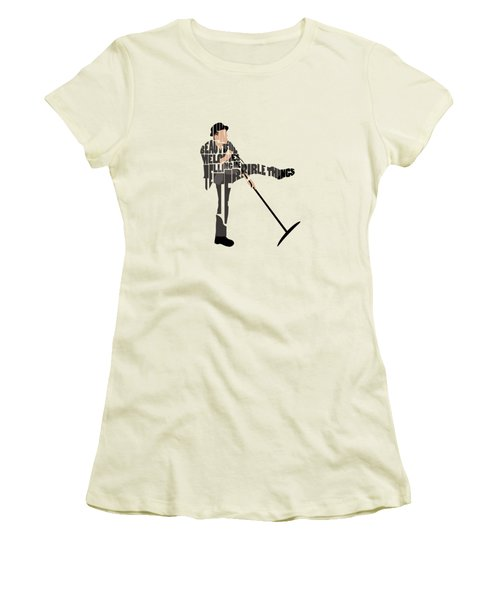 Tom Waits Typography Art Women's T-Shirt (Athletic Fit)
