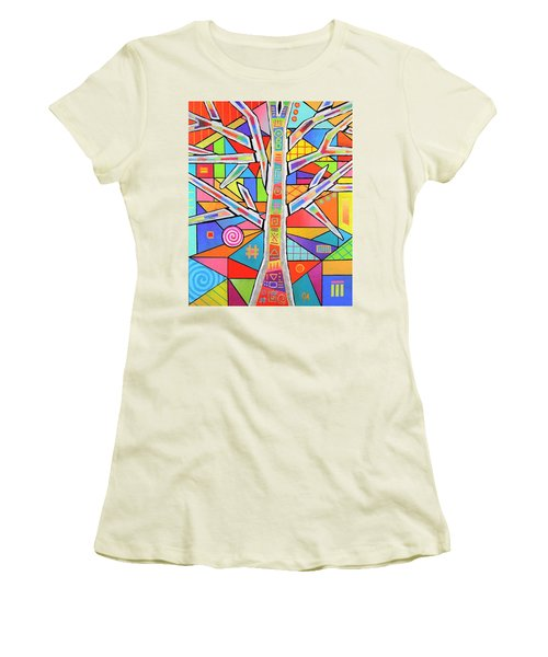 Totem Tree Women's T-Shirt (Junior Cut) by Jeremy Aiyadurai