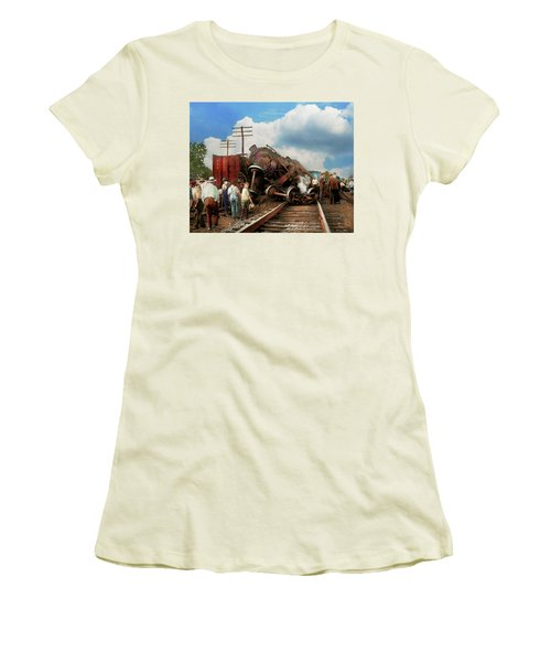 Women's T-Shirt (Junior Cut) featuring the photograph Train - Accident - Butting Heads 1922 by Mike Savad