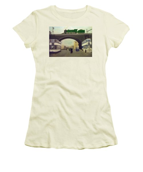1950s Tram, Locomotive, Bus And Cars In Sheffield  Women's T-Shirt (Athletic Fit)