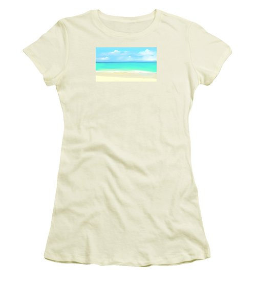 Women's T-Shirt (Junior Cut) featuring the digital art Tranquil Beach by Anthony Fishburne