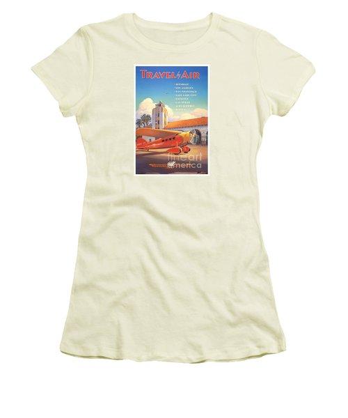 Travel By Air Women's T-Shirt (Junior Cut) by Nostalgic Prints