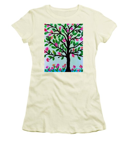 Women's T-Shirt (Athletic Fit) featuring the painting Tree Of Essence by Pristine Cartera Turkus