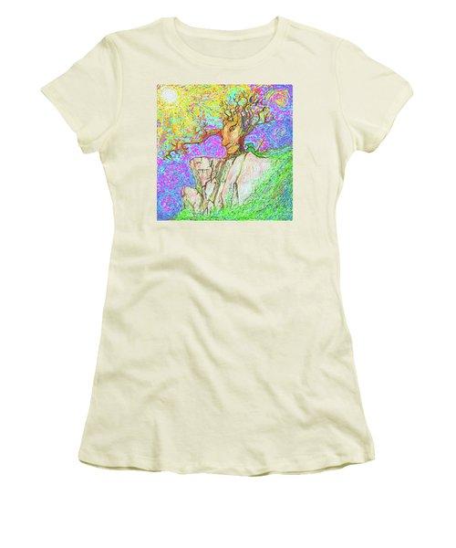 Tree Touches Sky Women's T-Shirt (Junior Cut) by Hidden Mountain and Tao Arrow