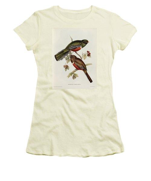 Trogon Collaris Women's T-Shirt (Junior Cut) by John Gould