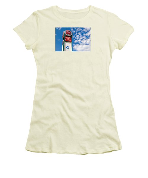 Women's T-Shirt (Junior Cut) featuring the photograph Trolley Stop by Bob Pardue