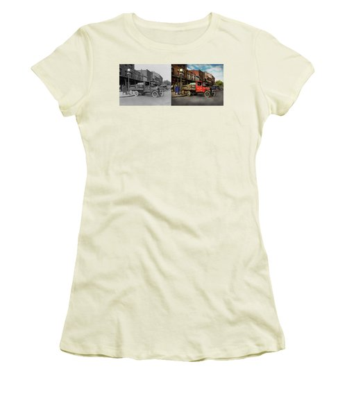 Women's T-Shirt (Junior Cut) featuring the photograph Truck - Home Dressed Poultry 1926 - Side By Side by Mike Savad