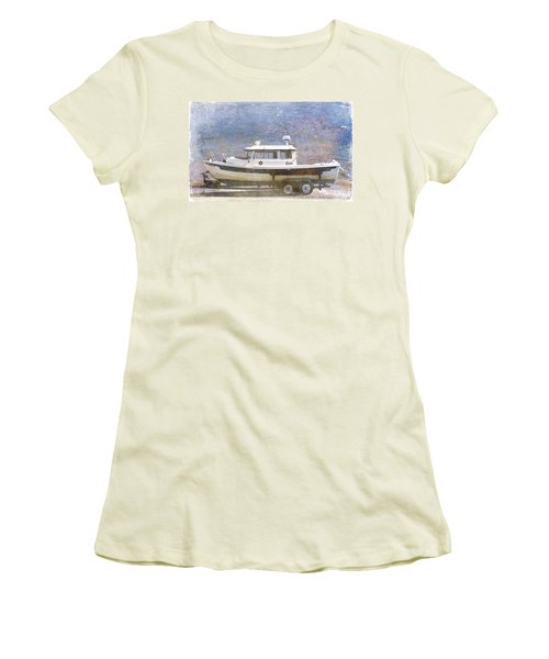 Women's T-Shirt (Junior Cut) featuring the painting Tugboat by Cynthia Powell