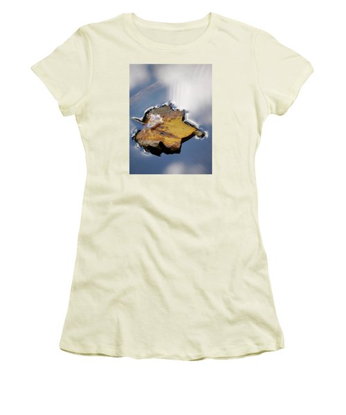 Tulip Leaf On Water Women's T-Shirt (Junior Cut) by Jane Ford