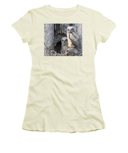 Women's T-Shirt (Junior Cut) featuring the photograph Twin Owls by Jeanette Oberholtzer