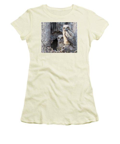 Twin Owls Women's T-Shirt (Junior Cut) by Jeanette Oberholtzer