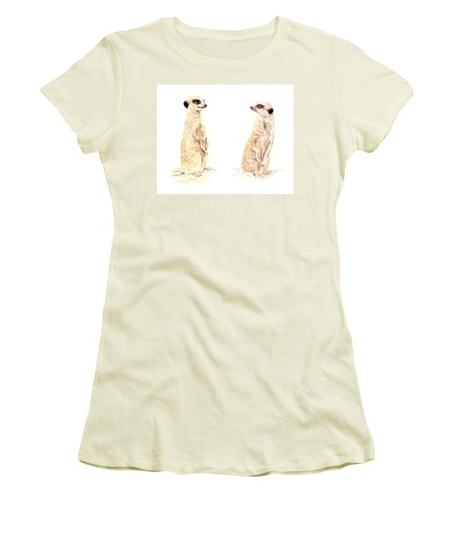 Women's T-Shirt (Athletic Fit) featuring the mixed media Two Meerkats by Elizabeth Lock