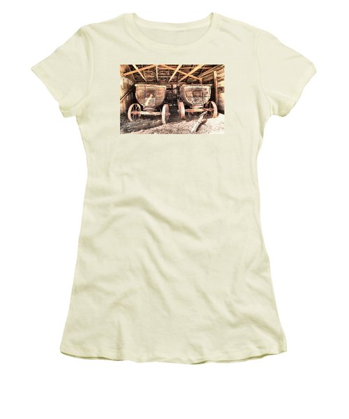 Women's T-Shirt (Junior Cut) featuring the photograph Two Old Wagons by Jeff Swan