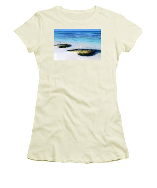 Two Seaweed Mounds On Punta Cana Resort Beach Women's T-Shirt (Athletic Fit)