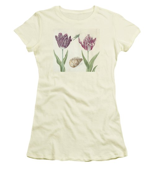 Two Tulips A Shell And A Grasshopper Women's T-Shirt (Athletic Fit)