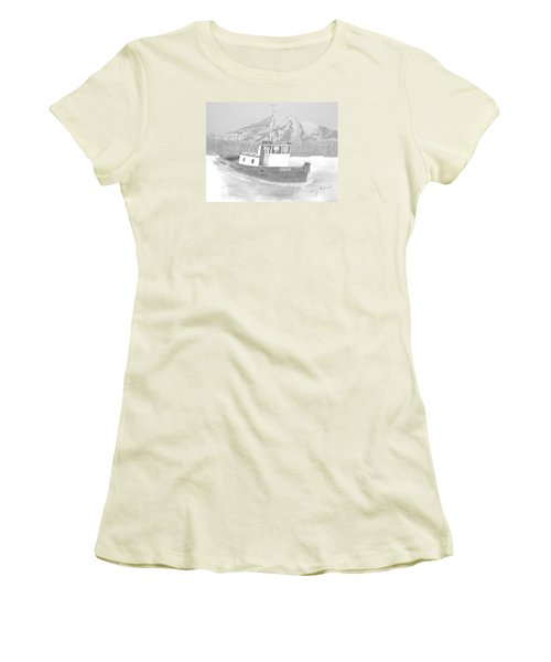 Women's T-Shirt (Junior Cut) featuring the drawing Tugboat Union by Terry Frederick