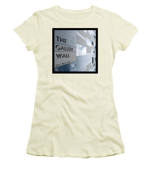 Women's T-Shirt (Athletic Fit) featuring the photograph Up The Wall-the Gallery Wall Logo by Wendy Wilton