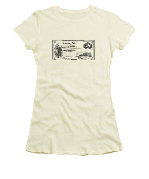 Women's T-Shirt (Junior Cut) featuring the digital art U.s. Five Hundred Dollar Bill - 1864 $500 Usd Treasury Note  by Serge Averbukh